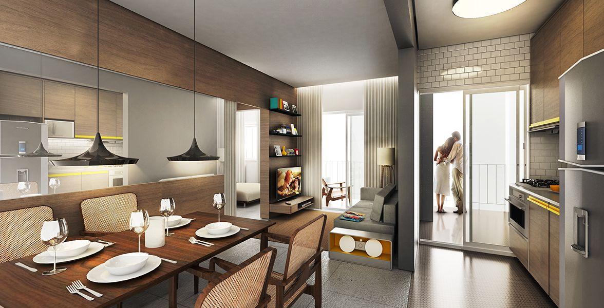 LIVING E COZINHA do apto de 49 m².