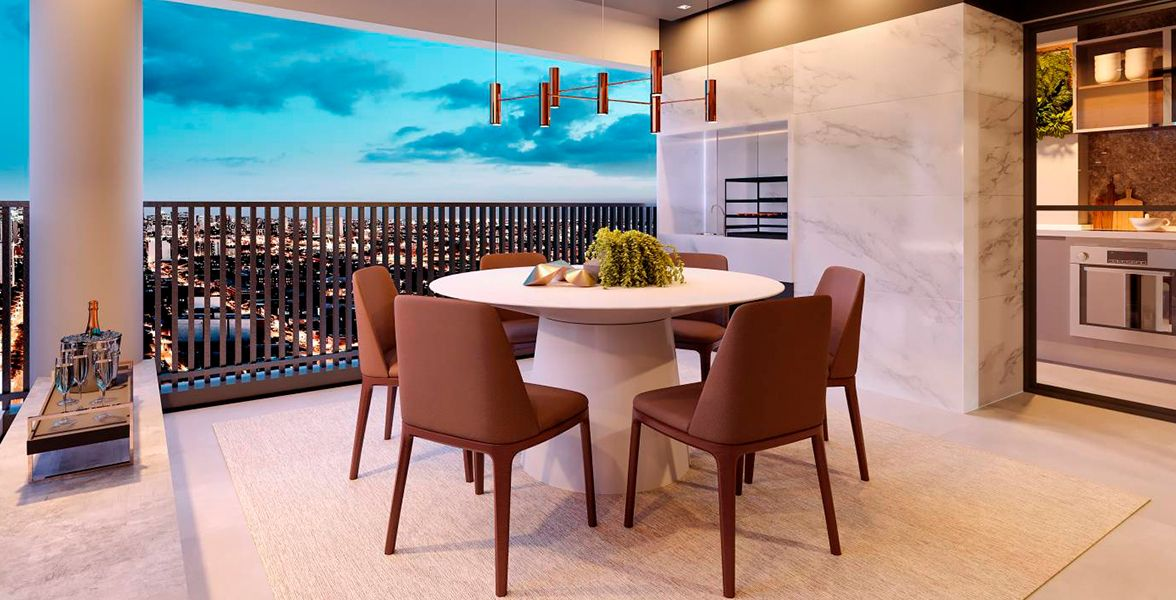 TERRAÇO GOURMET com churrasqueira do apto de 100 m².