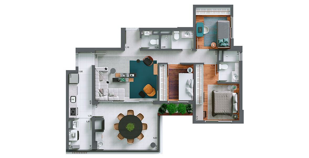 Planta do Essência Perdizes By Setin. floorplan