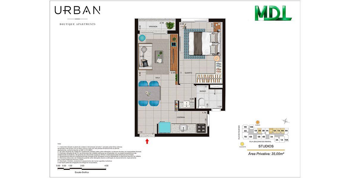 Planta do Urban Boutique Apartments. floorplan