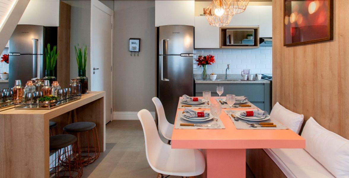 LIVING E COZINHA do apto de 42 m².
