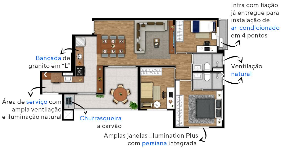 87 M² - 3 DORMITÓRIOS, SENDO 1 SUÍTE. Apartamentos em Campinas com configuração flexível, possibilitando integração total do terraço gourmet ao living. Destaque para os dormitórios, com espaço para bancada e infra para ar-condicionado.