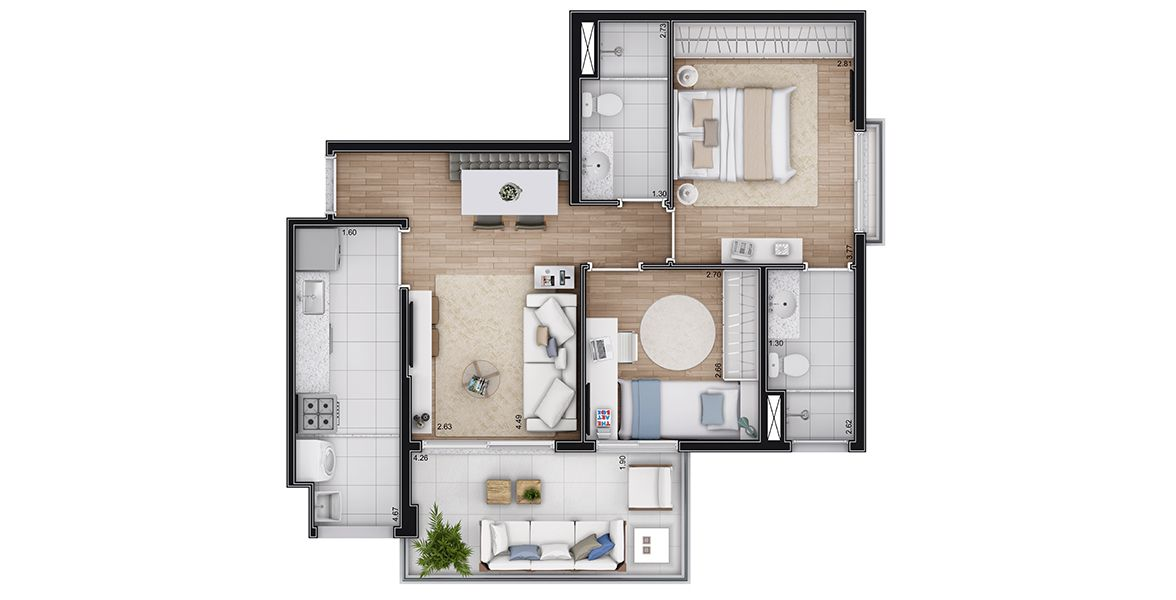 Planta do Up Life Conceição. floorplan