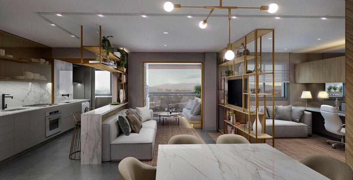 LIVING do apto de 69 m².