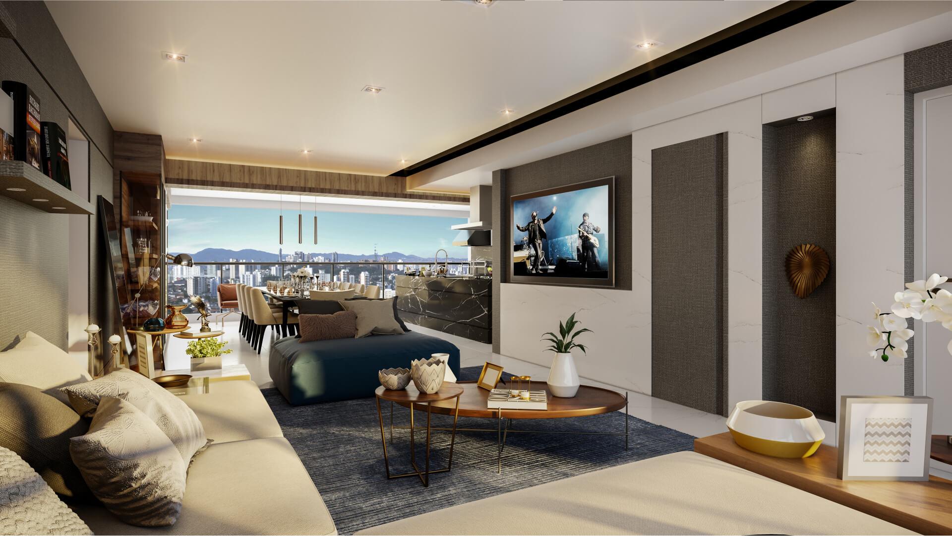 LIVING do apto de 163 m², com lavabo e previsão para ar-condicionado. Conta com abertura de portas e janelas nas duas extremidades, favorecendo a ventilação cruzada.
