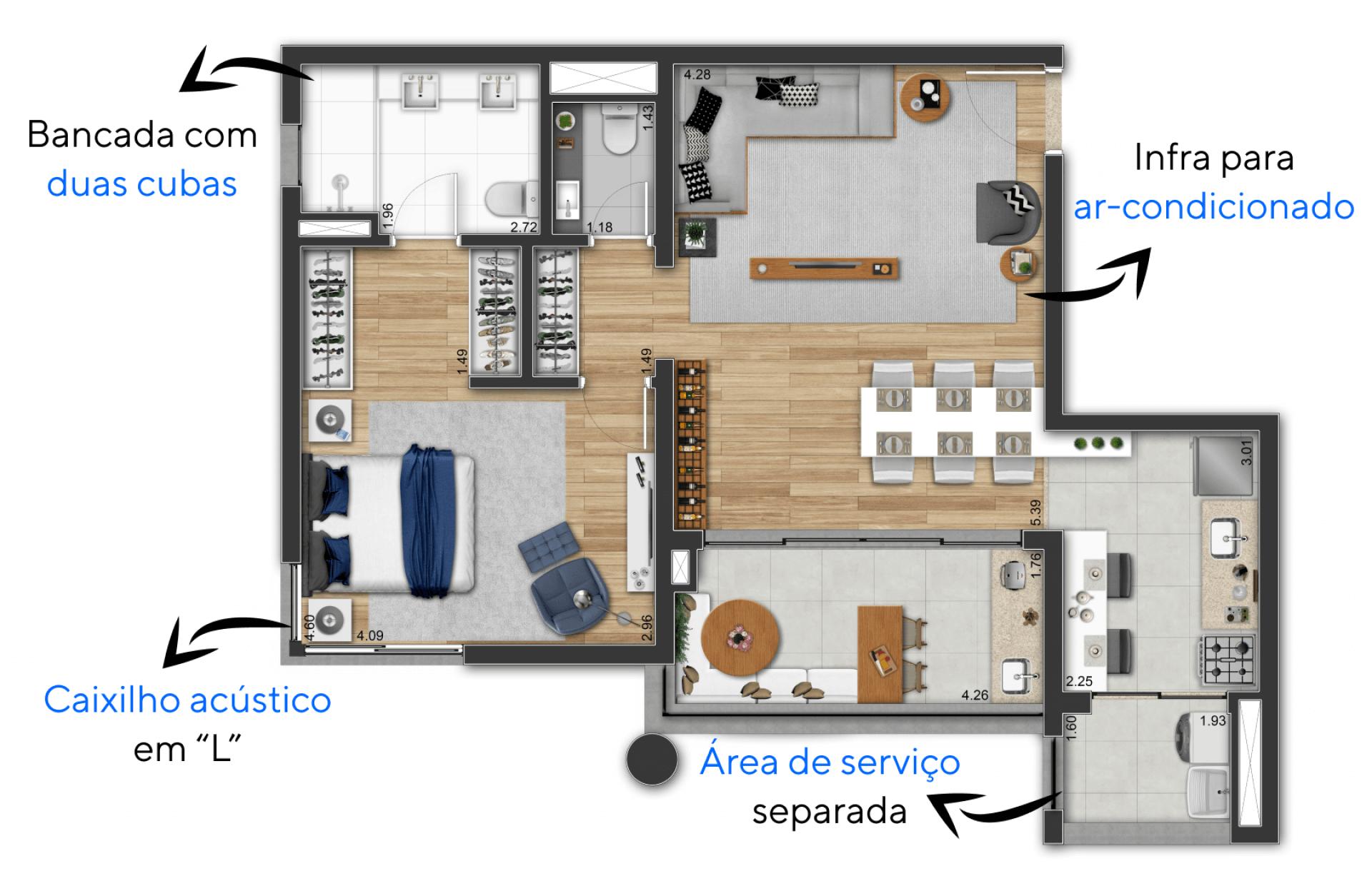 79 M² - 1 SUÍTE. Apartamento com confortável suíte que inclui espaço para closet e banheiro naturalmente ventilado. Destaque para o roupeiro ao lado do lavabo, um espaço funcional para organização da residência.