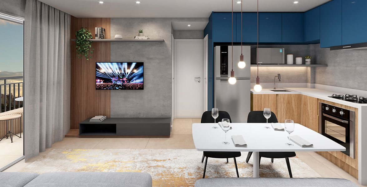 LIVING do apto de 47 m².