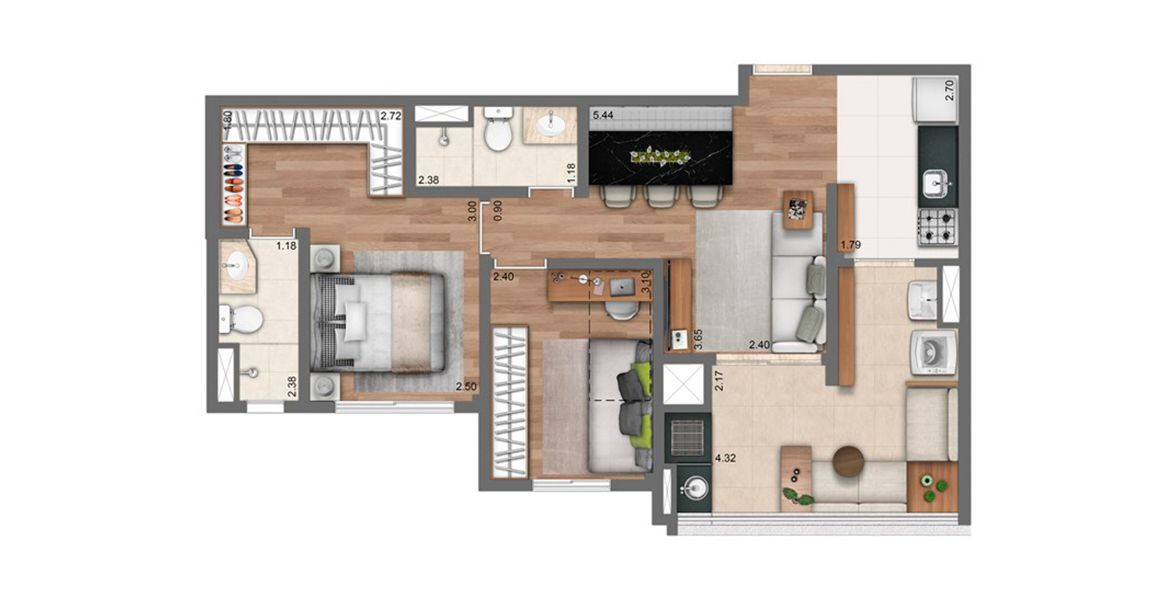 Planta do Living Dream Panamby. floorplan
