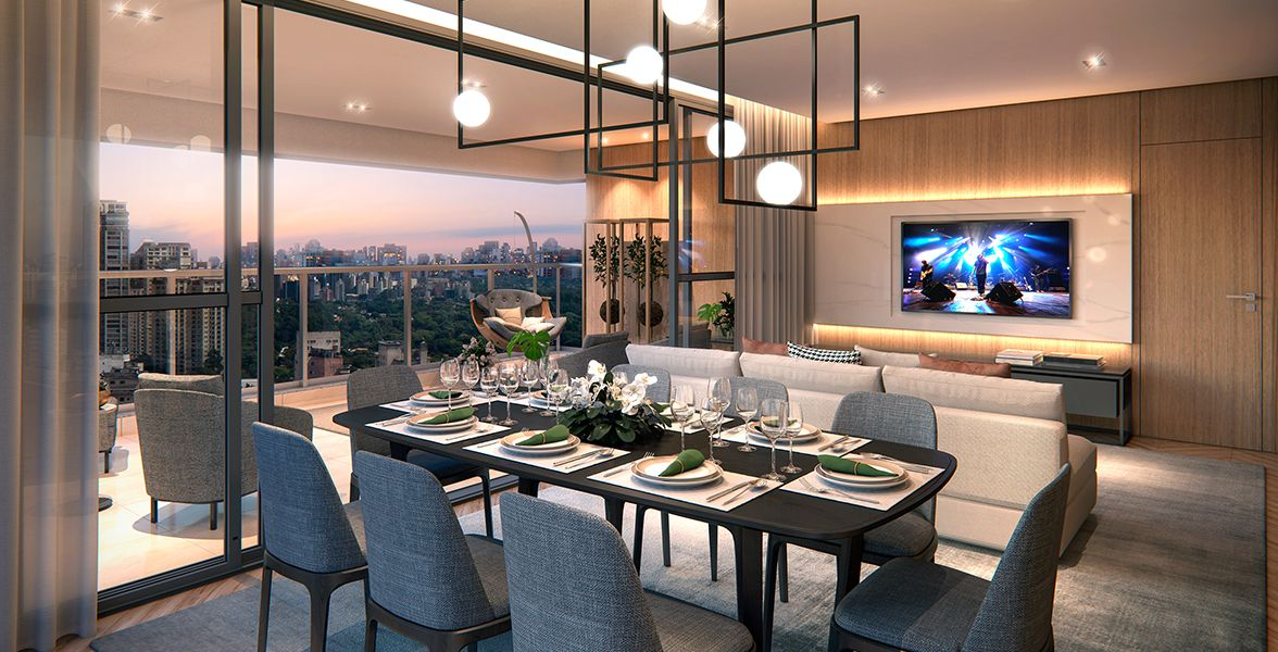 LIVING do apto de 157 m²