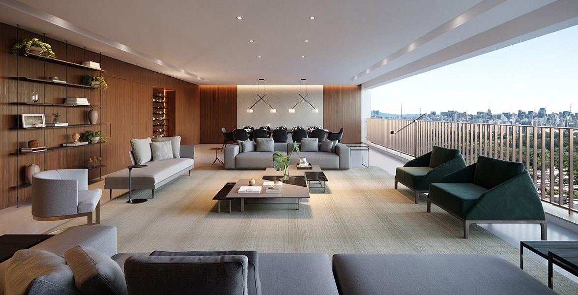 LIVING do apto de 280 m².