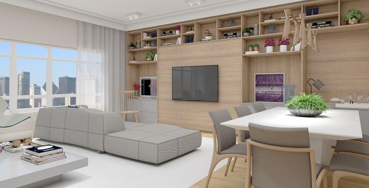 SALA DE JANTAR do apto de 175 m² integrada com a Sala de Estar e cozinha. Espaço para uma mesa de 8 lugares.