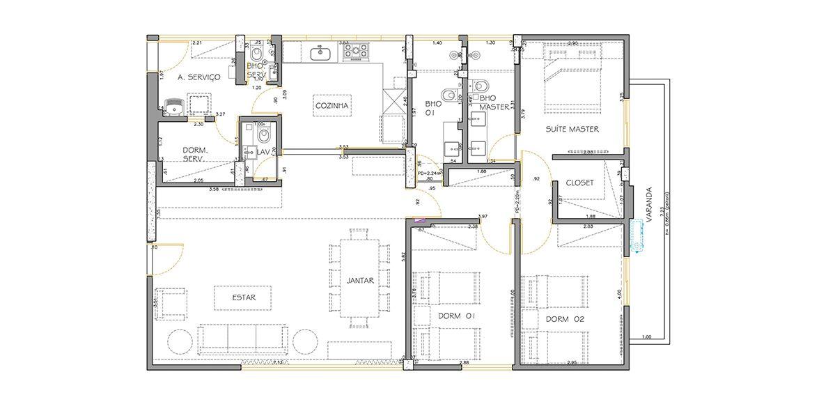 Planta do Edifício Rio Negro. 134 M² - 3 DORMITÓRIOS, SENDO 1 SUÍTE.  (Apartamento 151, 15º andar).