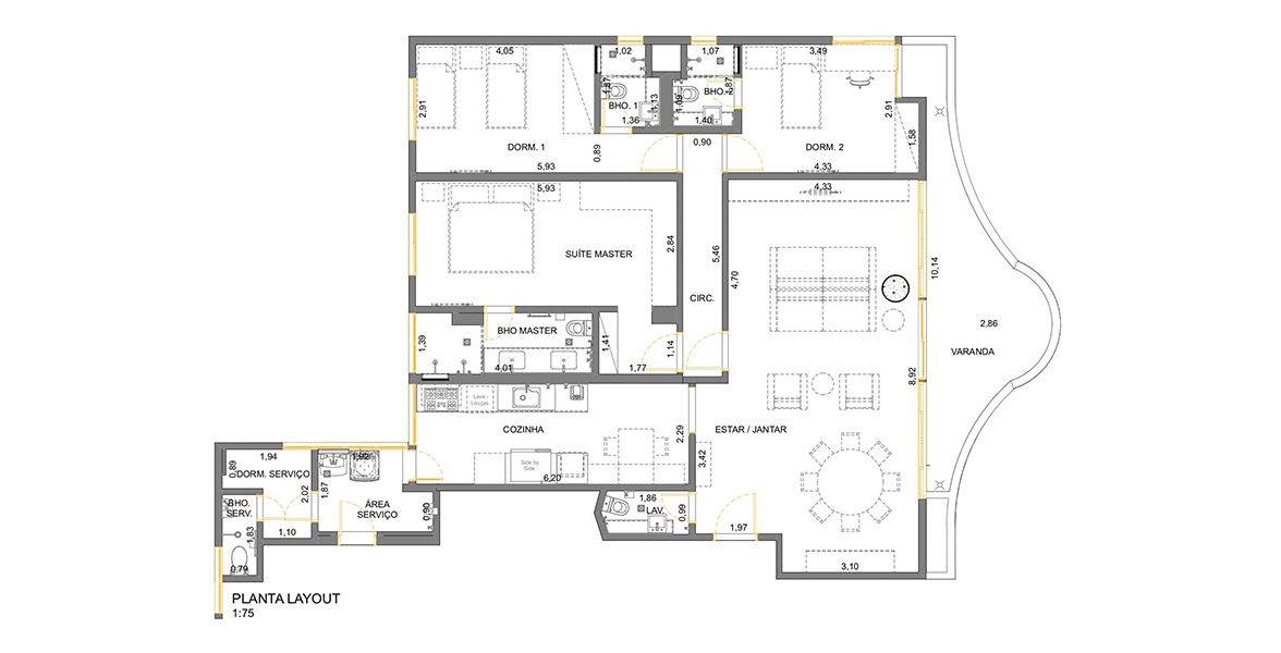 156 M² - 3 SUÍTES. (Apartamento 92, 9º andar).