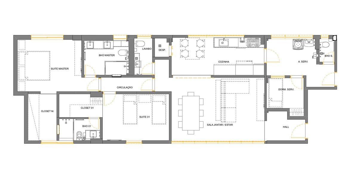 Planta do Edifício Franejoan. 139 M² - 2 SUÍTES. (Apartamento 142, 14º andar).