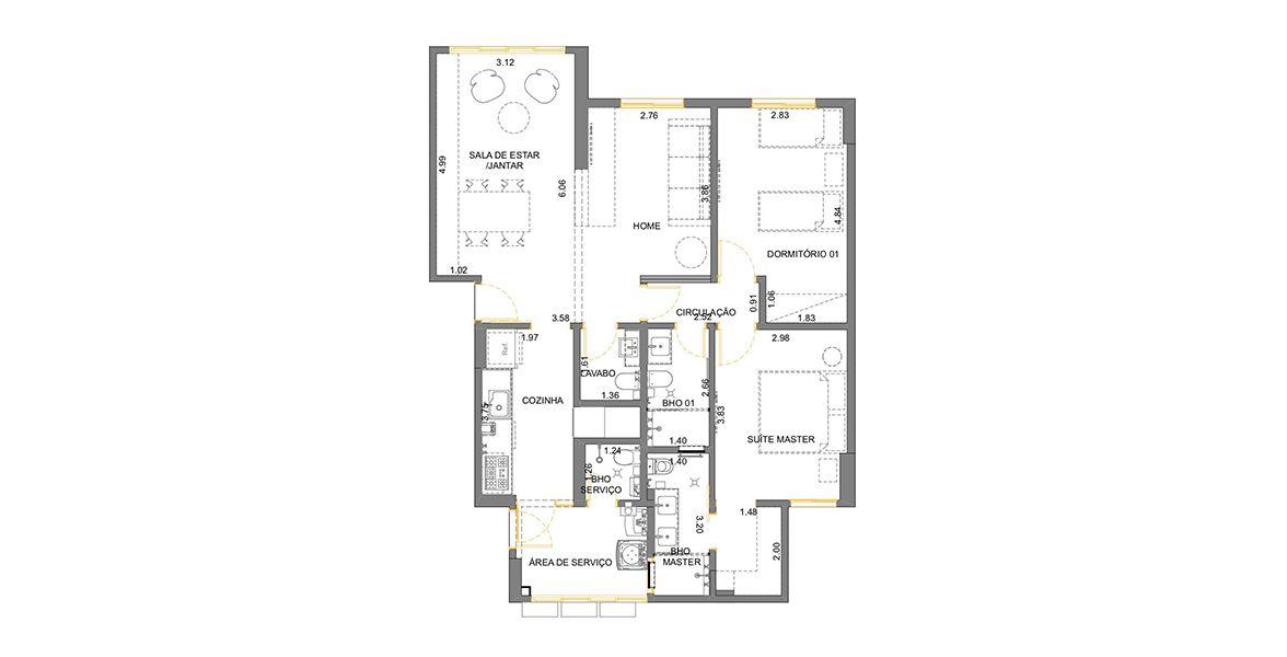 96 M² - 2 DORMITÓRIOS, SENDO 1 SUÍTE. (Apartamento 51, 5º andar).