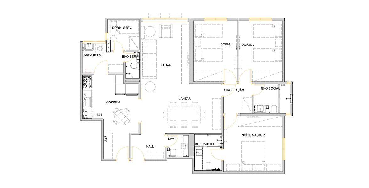 Planta do Edifício Ubatuba. 128 M² - 3 DORMITÓRIOS, SENDO 1 SUÍTE. (Apartamento 114, 11º andar).