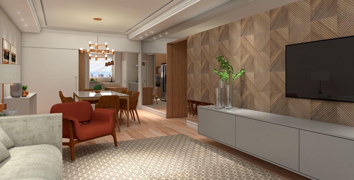 LIVING do apto de 163 m² no 11º andar do Edifício Long Champs