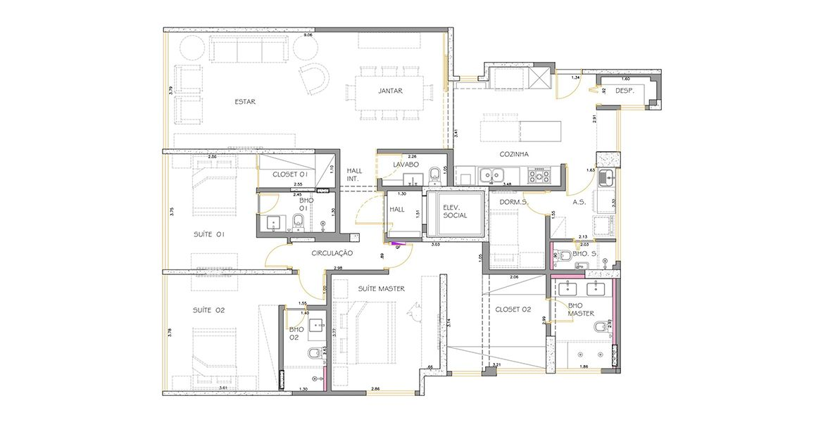 Planta do Edifício Long Champs. 163 M² - 3 SUÍTES.  (Apartamento 1102, 11º andar).