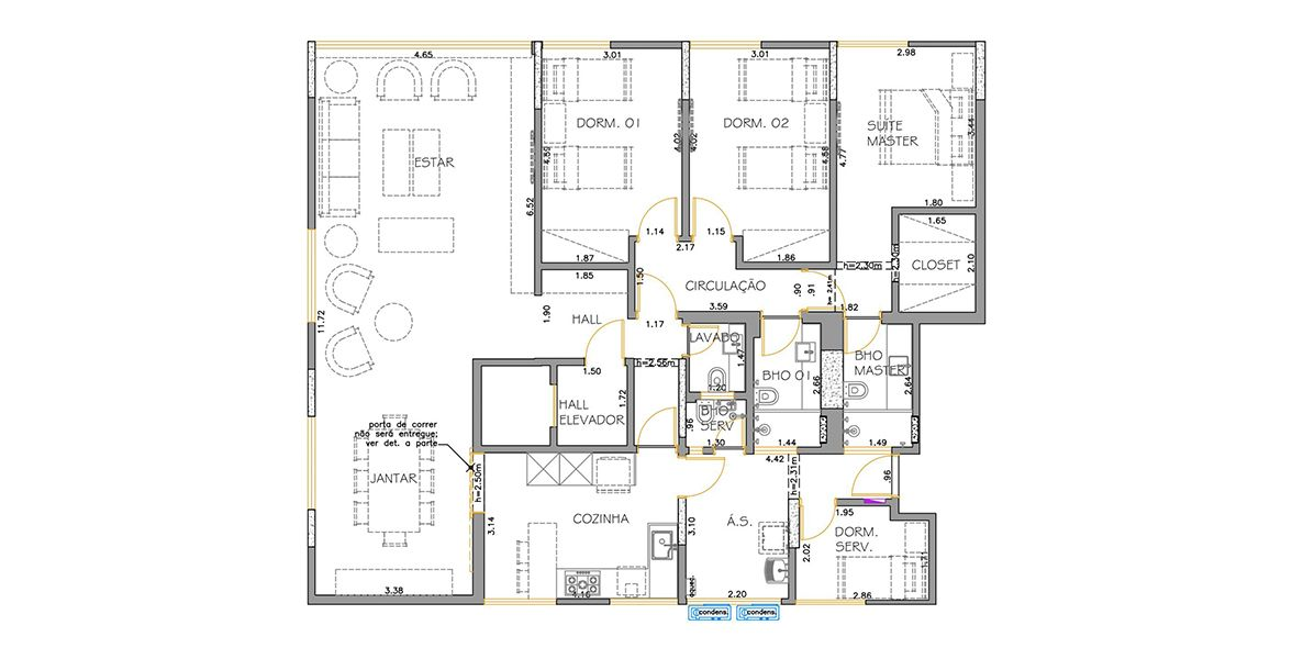 167 M² - 3 DORMITÓRIOS, SENDO 1 SUÍTE. (Apartamento 112, 11º andar).