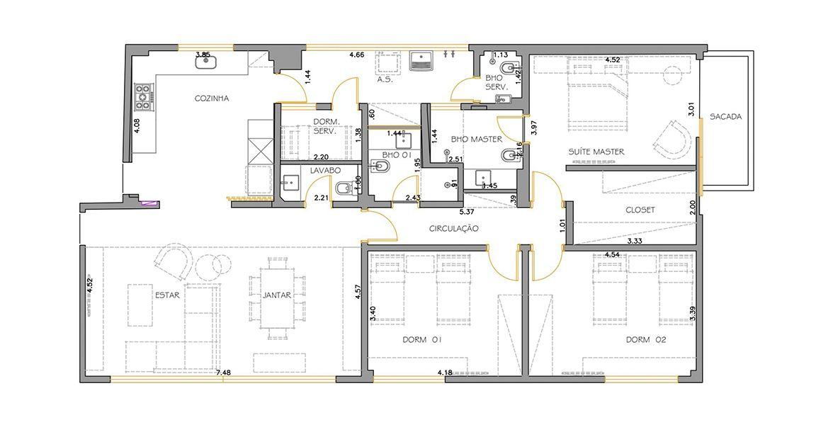 161 M² - 3 DORMITÓRIOS, SENDO 1 SUÍTE. (Apartamento 92, 9º andar).