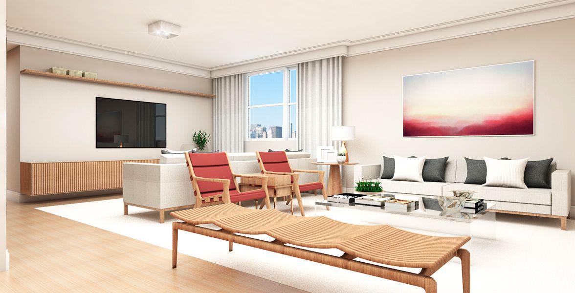 SALA do apto de 225 m². (Apartamento 101, 10º andar).