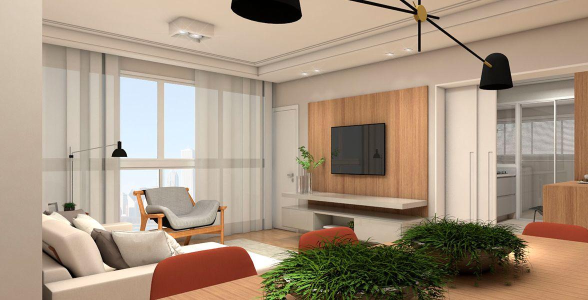 SALAS do apto de 144 m². (Apartamento 102, 10º andar).