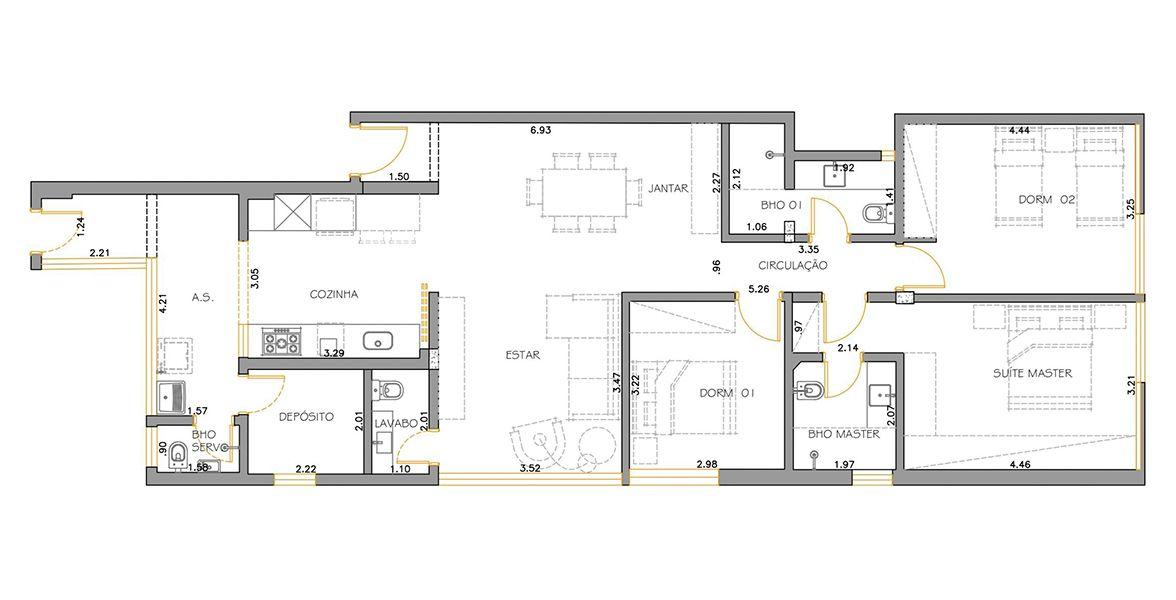 144 M² - 3 DORMITÓRIOS, SENDO 1 SUÍTE. (Apartamento 102, 10º andar).