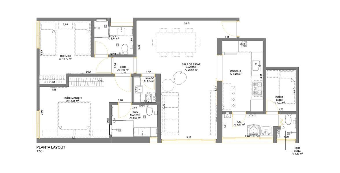 Planta do Edifício Itapagés. 97 M² - 2 SUÍTES. (Apartamento 124, 12º andar).