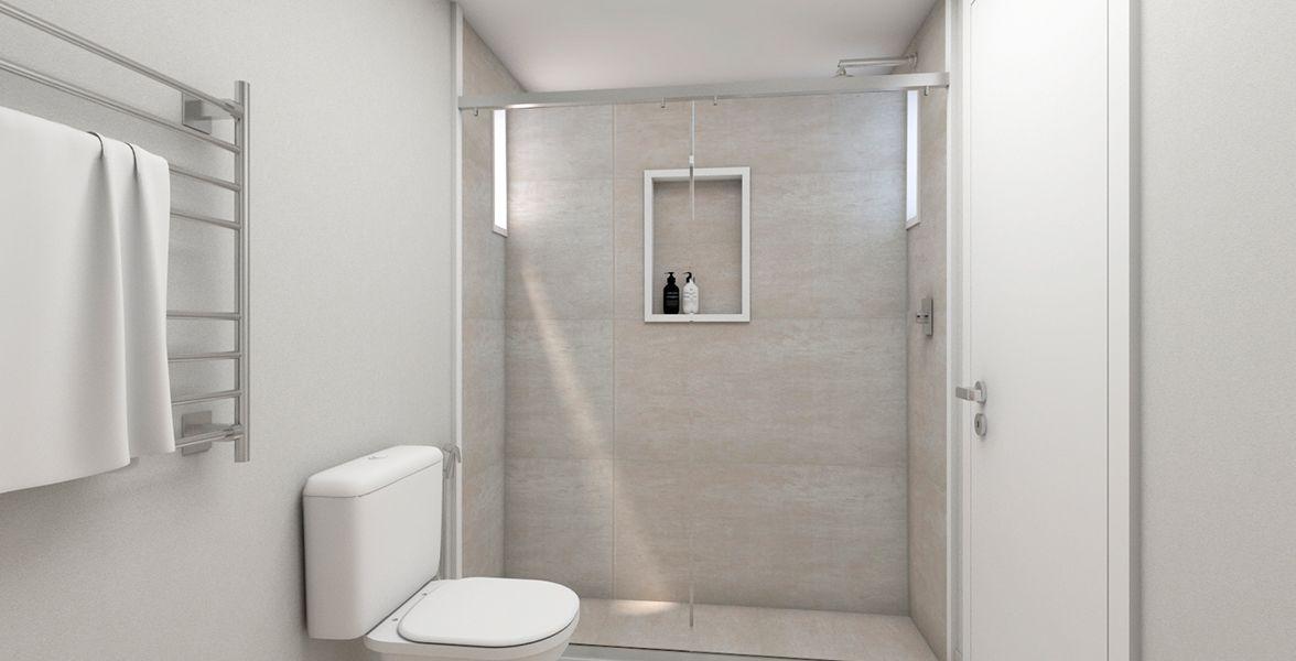 BANHEIRO SUÍTE MASTER do apto de 104 m². (Apartamento 114, 11º andar) do Edifício Adriana