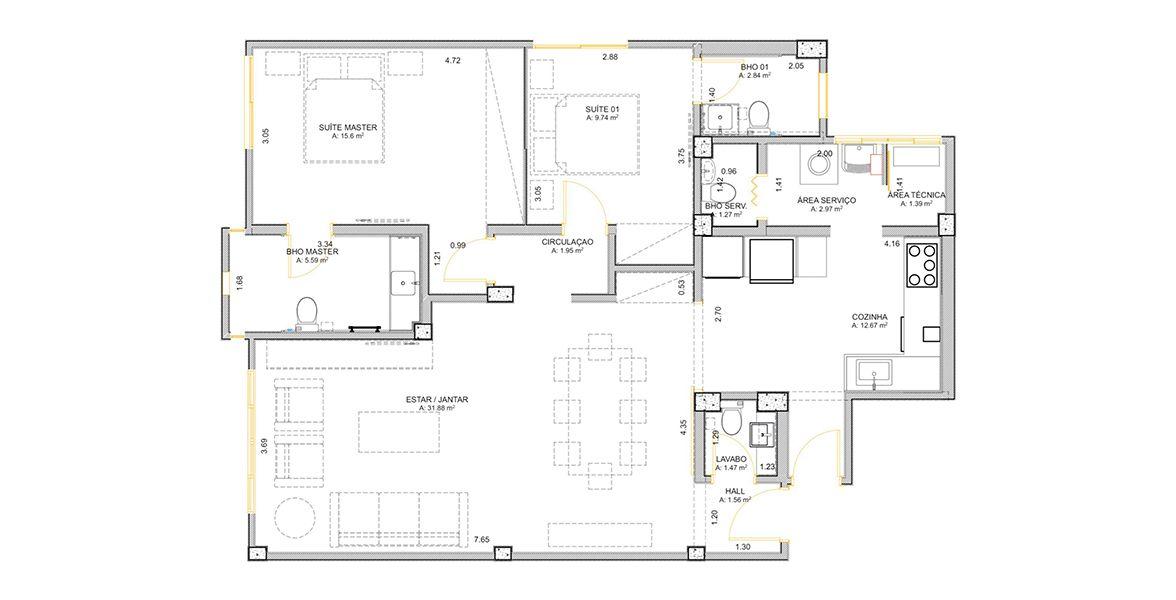 104 M² - 2 SUÍTES. (Apartamento 114, 11º andar).