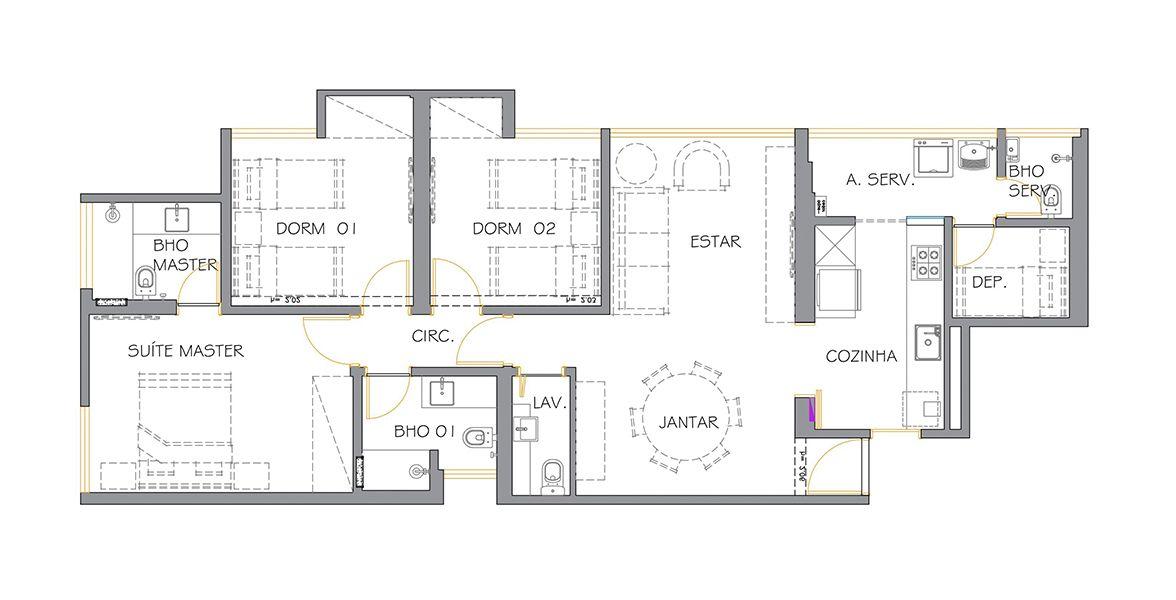 100 M² - 3 DORMITÓRIOS, SENDO 1 SUÍTE. (Apartamento 34, 3º andar).