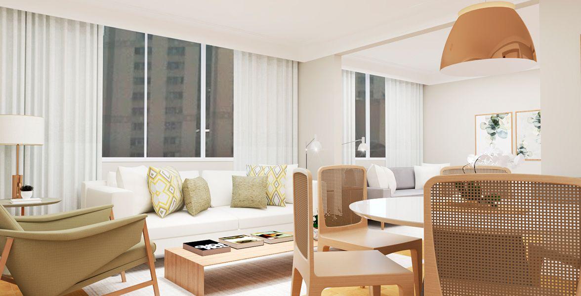 SALAS do apto de 110 m². (Apartamento 72, 7º andar) do Edifício Fragata