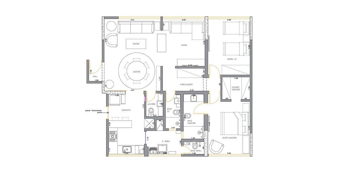 Planta do Edifício Fragata. 110 M² - 2 DORMITÓRIOS, SENDO 1 SUÍTE. (Apartamento 72, 7º andar).