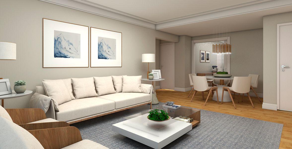 SALAS do apto de 130 m². (Apartamento 75, 7º andar) do Edifício Maria Helena
