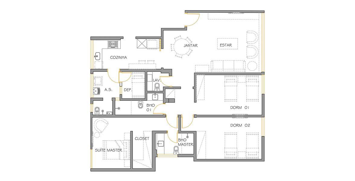 130 M² - 3 DORMITÓRIOS, SENDO 1 SUÍTE. (Apartamento 75, 7º andar).