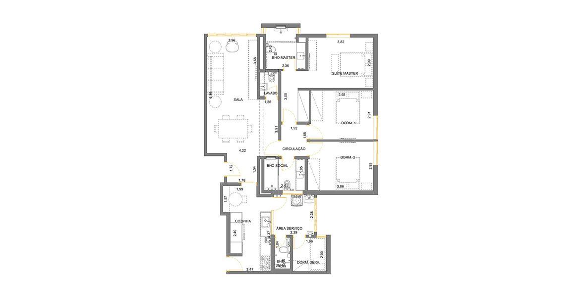 Planta do Edifício Itacema. 113 M² - 3 DORMITÓRIOS, SENDO 1 SUÍTE. (Apartamento 31, 3º andar).
