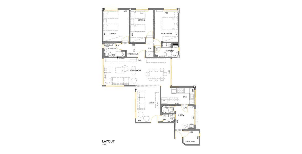 146 M² - 3 DORMITÓRIOS, SENDO 1 SUÍTE. (Apartamento 92, 9º andar).