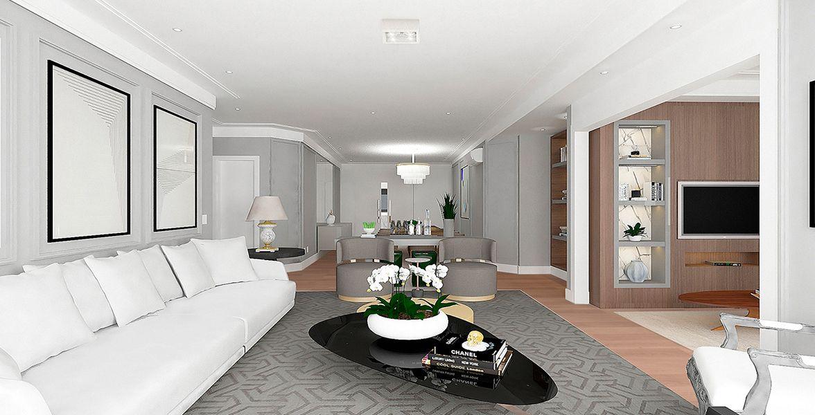 SALAS do apto de 160 m². (Apartamento 62, 6º andar) do Edifício Cláudio Tozzi