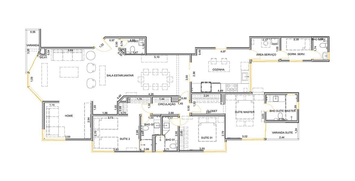 160 M² - 3 SUÍTES. (Apartamento 62, 6º andar).