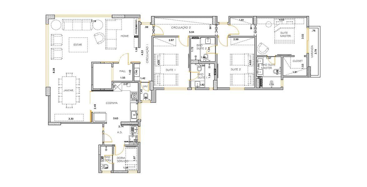 149 M² - 3 SUÍTES. (Apartamento 21, 2º andar).