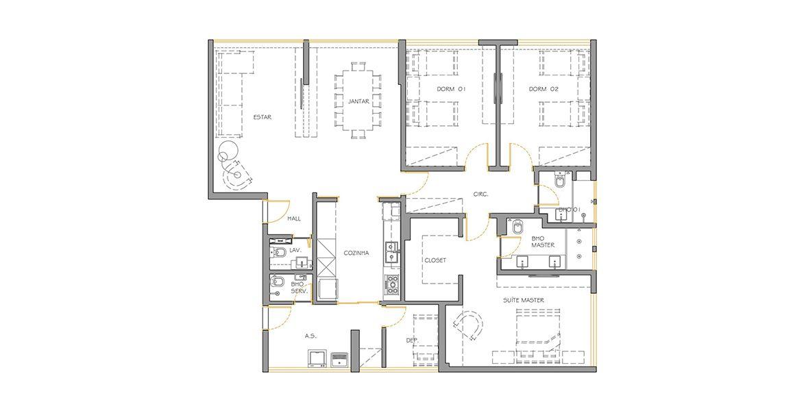 Planta do Edifício Cisne. 151 M² - 3 DORMITÓRIOS, SENDO 1 SUÍTE. (Apartamento 22, 2º andar).