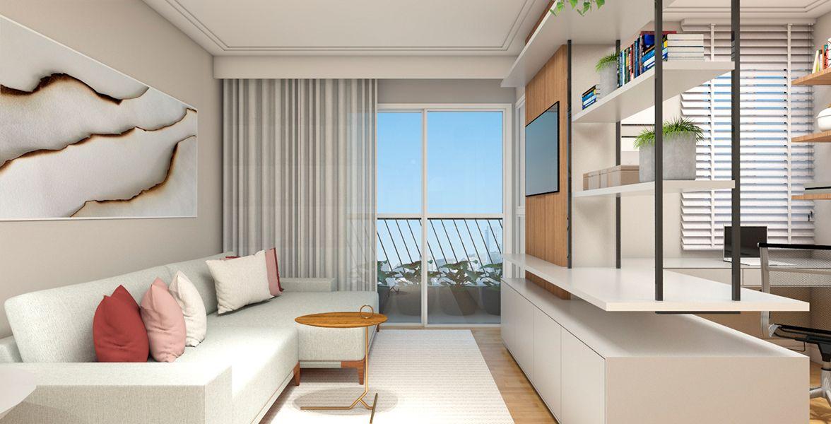 SALAS do apto de 87 m². (Apartamento 102, 10º andar) do Edifício Giardino