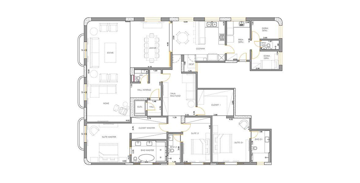 287 M² - 3 SUÍTES. (Apartamento 31, 3º andar).