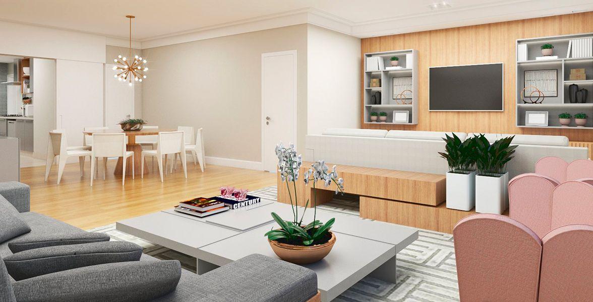 LIVING do apto de 154 m² no 3º andar.