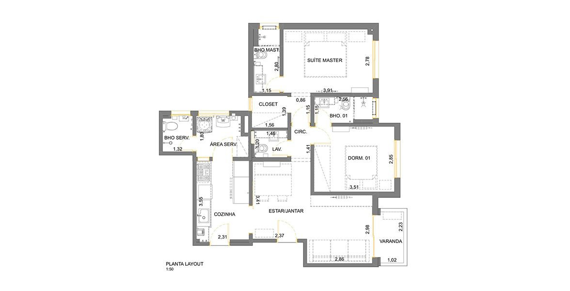 Planta do Edifício Andréa. 88 M² - 2 SUÍTES. (Apartamento 142, 14º andar).