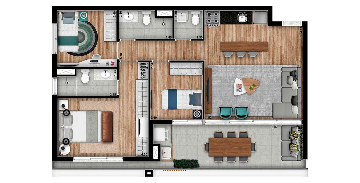 Planta do Arq Vila Mariana. floorplan