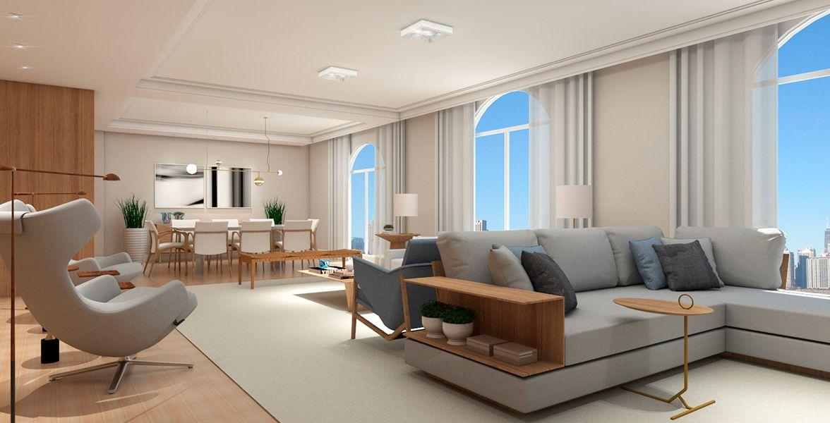 SALA DE ESTAR do apto de 286 m². (Apartamento 31, 3º andar).