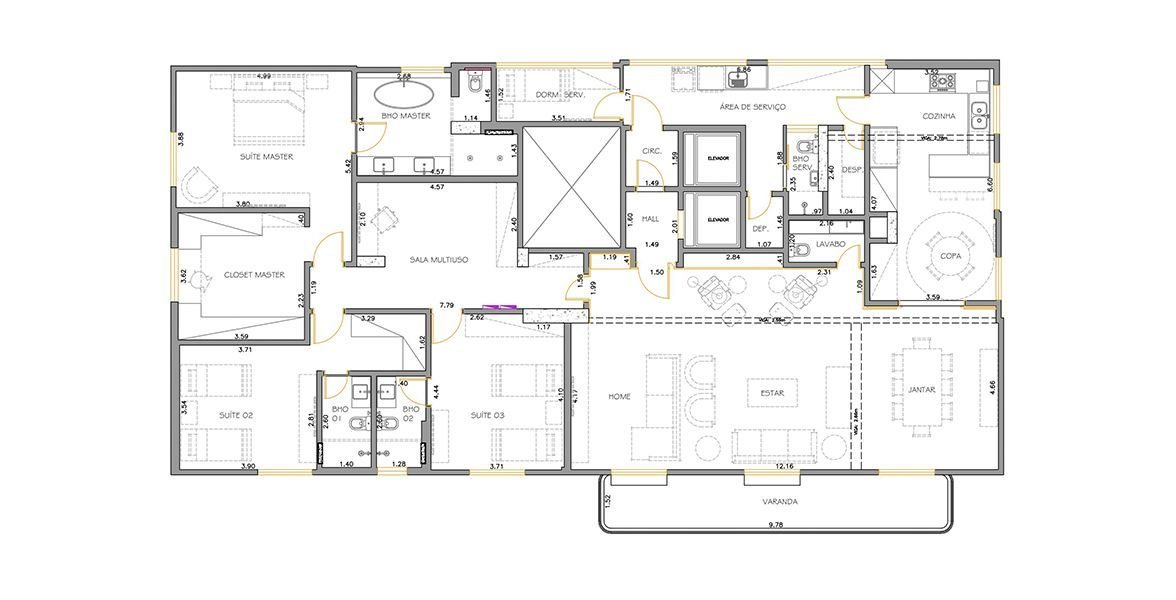 286 M² - 3 SUÍTES. (Apartamento 31, 3º andar).
