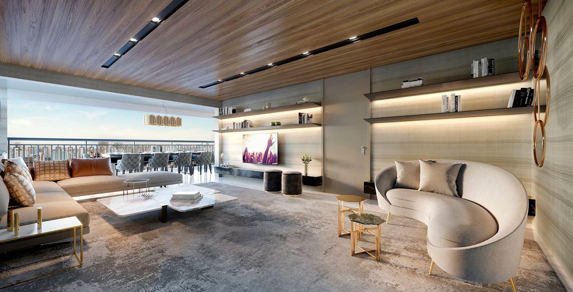LIVING integrado ao terraço do apto de 149 m² do Moema By Cyrela