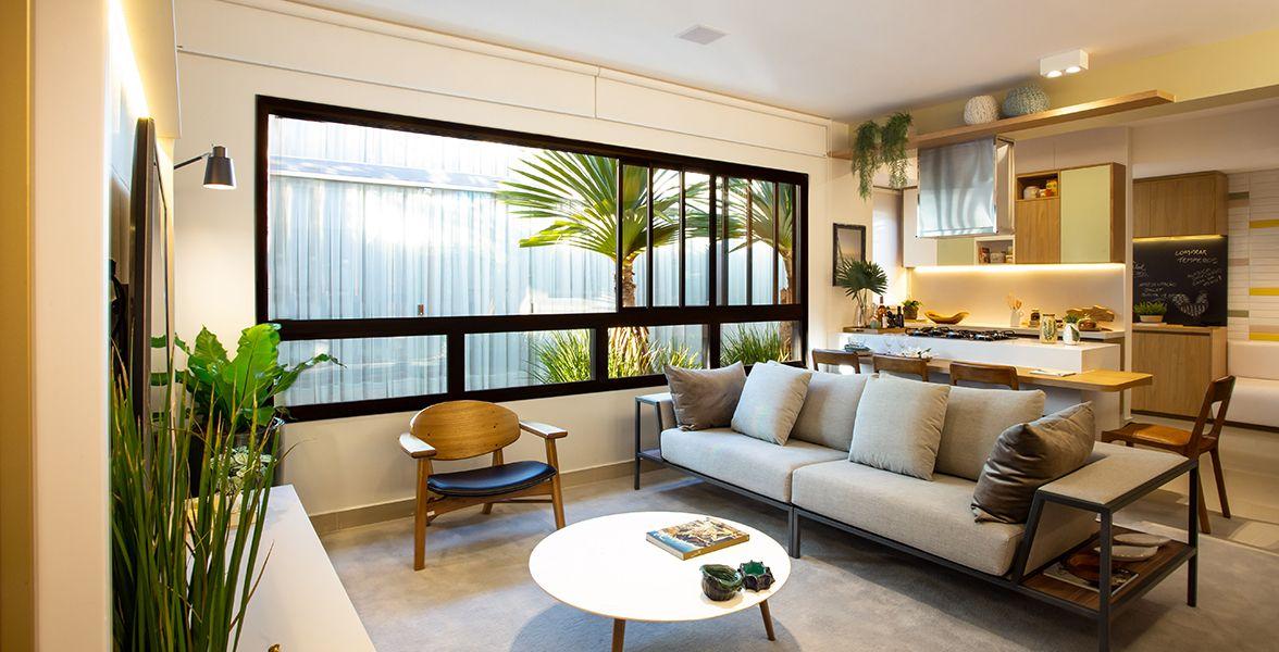 LIVING E COZINHA do apto de 111 m² do Vereda Areião